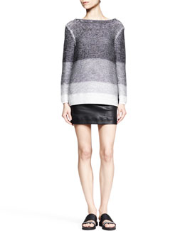 Helmut Lang Plaited Degrade Knit Sweater and Plonge Leather Pencil Skirt