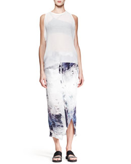 Helmut Lang Breeze Sleeveless Keyhole Top and Tidal Printed Asymmetric Skirt