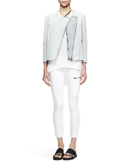 Helmut Lang Faded Denim Moto Jacket, Kinetic High-Low Tank & Cropped Zip-Pocket Moto Jeans