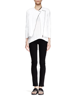 Helmut Lang Denim Moto Jacket, Kinetic High-Low Tank & Five-Pocket Skinny Jeans