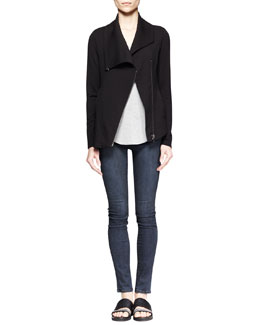 Helmut Lang Villous Asymmetric-Zip Sweatshirt and Kinetic Short-Sleeve Tee
