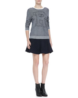 "Rag & Bone Rina ""R"" Knit Sweatshirt and Basha Flared Skirt"
