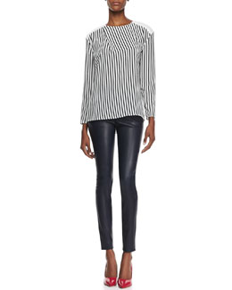 J Brand Ready to Wear Richey Short-Sleeve Striped Tee and Bartlett Slim Leather Pants