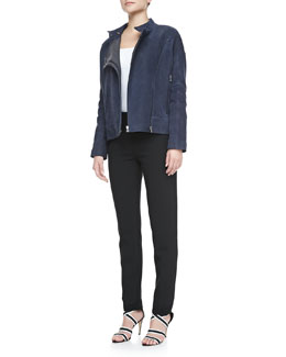 J Brand Ready to Wear Goodall Nubuck Leather Jacket and Marianne Slim-Leg Trousers