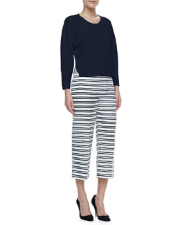 J Brand Ready to Wear Jill Dropped-Sleeve Sweater & Caldwell Striped Cropped Trousers