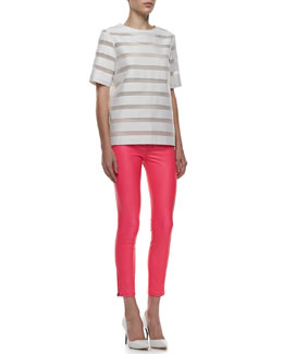 J Brand Ready to Wear Earhart Striped Mesh Blouse & Mid-Rise Leather Capri Pants