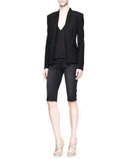 J Brand Ready to Wear Hale Double-Layer Blazer, Lucy Sheer-Back Camisole & Denim Bermuda Bicycle Shorts