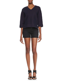 J Brand Ready to Wear Ochoa Boxy Fleece Sweatshirt  & Leigh Alley Cat High-Rise Shorts