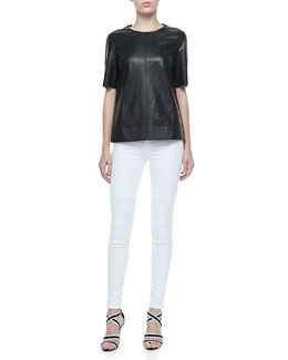 J Brand Jeans Clark Short-Sleeve Leather Top & Nicola Skinny Motorcycle Jeans