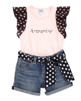 Armani Junior Polka-Dot Flutter-Sleeve Top & Denim Shorts with Polka-Dot Belt