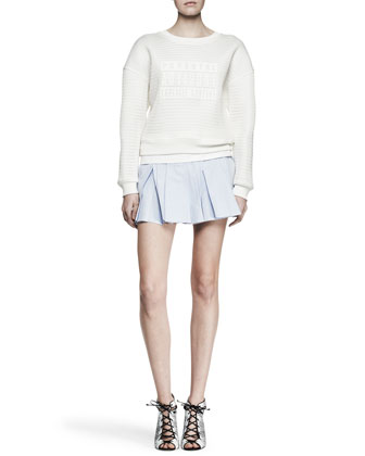 Parental Advisory Knit Sweatshirt and Irregular Pleat Short Skirt
