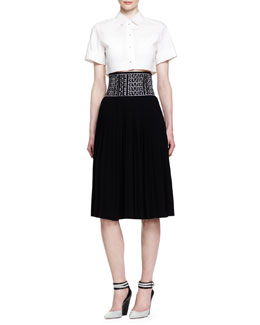 Alexander Wang Short-Sleeve Buttoned Crop Top and Logo-Waist Pleated Skirt