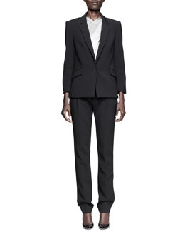 Alexander Wang Single-Snap Blazer, X-Drape Check Top & Pleat-Front Low Trousers