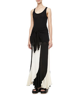 Jean Paul Gaultier Sheer High-Low Solid Tank & Jersey Paneled Skirt