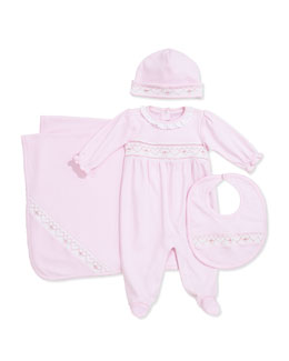Kissy Kissy Girls' CLB Spring Shades Footie, Baby Hat, Bib & Baby Blanket