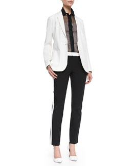 New Deauville One-Button Jacket, Jin Sheer Long Sleeve Blouse & Ben Contrast Smoking Pants