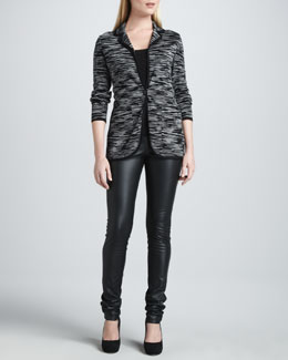 M Missoni Double-Knit Space Dye Jacket, Zigzag Tank & Faux-Leather Leggings