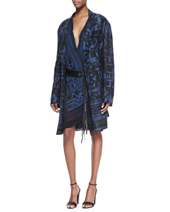 Tribal Printed Topper & Printed Wrap Dress with Single-Grommet Leather Belt