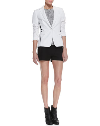 Slash Single-Button Blazer, Oda Tweed-Front Top & Tatiana Leather-Trim Shorts