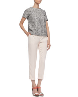 Rag & Bone Oda Tweed-Front Top and Mo Cuffed Crepe Pants