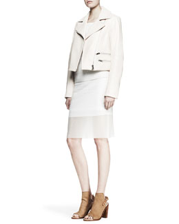 Rag & Bone Vespa Leather Moto Jacket, Molly Embossed Raglan Pullover & Molly Knit Pencil Skirt