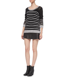 Rag & Bone Azra Striped Knit Pullover & Florencia Lambskin Skirt