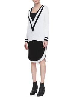 Rag & Bone Talia Plunging V-Neck Ribbed Sweater & Ashlee Curved High-Low Hem Skirt