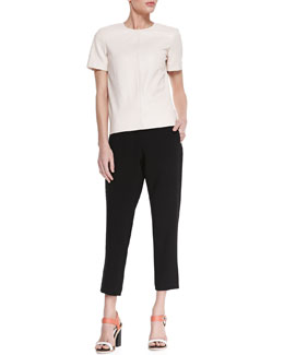 Rag & Bone Oda Short-Sleeve Leather Top and Drawstring Crepe Easy Pants