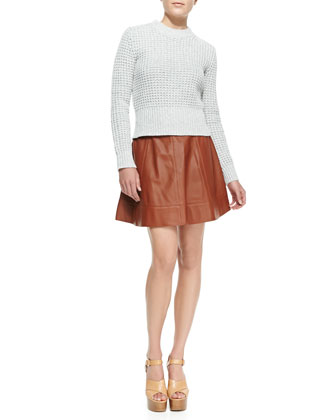Waffle Crewneck Sweater & Leather A-Line Skirt