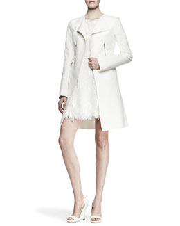 Nina Ricci Zip-Pocket Topper Coat and Sleeveless Lace Babydoll Dress