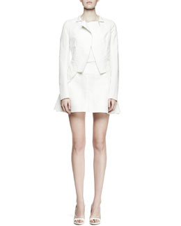 Nina Ricci Asymmetric Peplum-Back Jacket and Flared Pocket Miniskirt