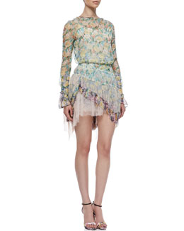 Nina Ricci Sheer Floral-Print Blouse & Floral-Print High-Low Skirt