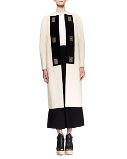 Proenza Schouler Bicolor Turn-Lock Coat, Cropped Plisse Shell & High-Waist Cropped Gaucho Pants