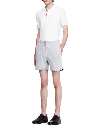 Short-Sleeve Pique Polo and Drawstring Tennis Shorts
