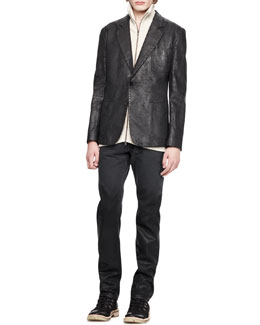 Maison Martin Margiela Leather-Effect Blazer, Ribbed Sweater, Melange Tank & Slim Degrade Jeans