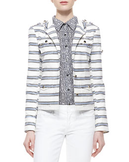 Tory Burch Striped Sergeant Pepper Jacket and Brigitte Printed Button-Down Blouse