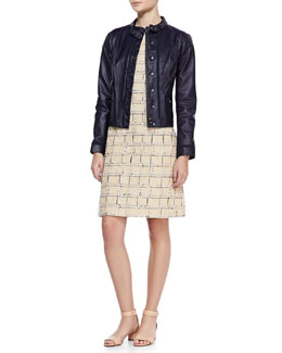 Tory Burch Sandra Leather Snap Jacket and Evie Cap-Sleeve Grid Dress