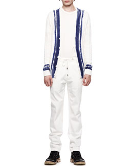 Maison Martin Margiela Painted Cable Cardigan, Crew T-Shirt & Drawstring Twill Trousers