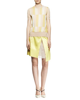 Reed Krakoff Short-Sleeve Stripe-Front Sweater and Asymmetric Organza-Inset Skirt