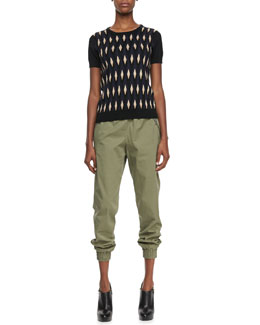 MARC by Marc Jacobs Diamond-Print Short-Sleeve Sweater & Samantha Twill Track Pants