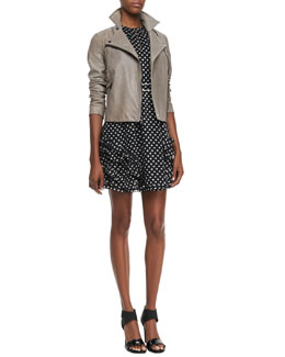 MARC by Marc Jacobs Karlie Leather Moto Jacket & Diamond-Print Ruffled Dress