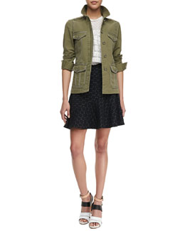 MARC by Marc Jacobs Zeta Twill Utility Jacket, Diamond-Pattern Tiered Top & Leyna Dotted Flared Skirt