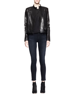 J Brand Ready to Wear Robyn Crackled Leather Jacket, Lucy Sheer-Back Camisole & Mid-Rise Impression Skinny Jeans
