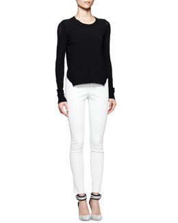 J Brand Ready to Wear Ellen Arch-Hem Sweater & Beryl Skinny Leather Pants
