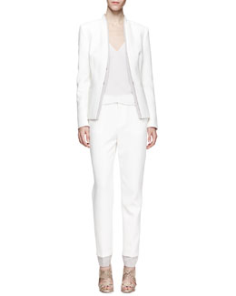 J Brand Ready to Wear Hale Double-Layer Blazer, Lucy Sheer-Back Top & Marianne Straight-Leg Trousers