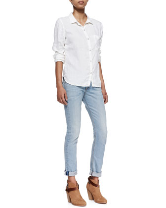 Perfect Linen Shirt & Skinny-Leg Jeans