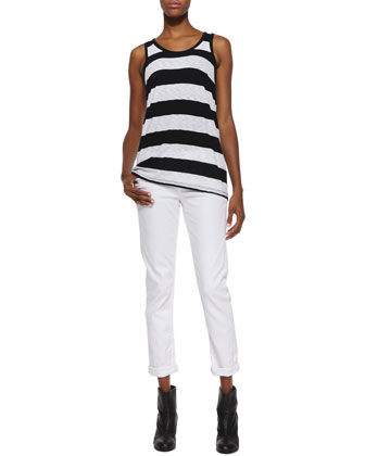 Cast Striped Slub Tank & Dre Slim Boyfriend Jeans