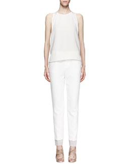 J Brand Ready to Wear Nadkarni Sleeveless Back-Zip Top & Marianne Straight-Leg Trousers