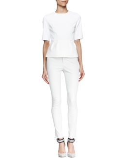 J Brand Ready to Wear Omlie Short-Sleeve Peplum Blouse and Beryl Skinny Leather Pants