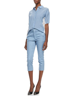 J Brand Ready to Wear Hay Denim Voile Short-Sleeve Blouse & Davis Ankle-Cropped Trouser Pants